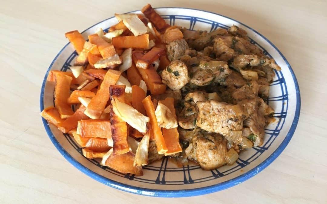 Brassói aprópecsenye sült batátával és zellerrel